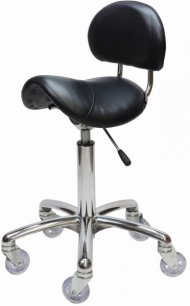 Joiken Saddle with Back - Chrome Base, Black Upholstery