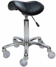 Joiken Saddle No Back, Chrome Base - Black Upholstery