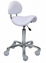 Joiken Saddle with Back - Chrome Base, White Upholstery