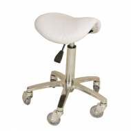 Joiken Saddle No Back, Chrome Base - White Upholstery